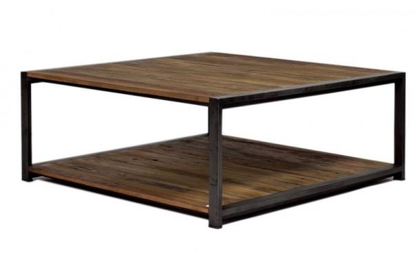 Table basse carrée bois industriel