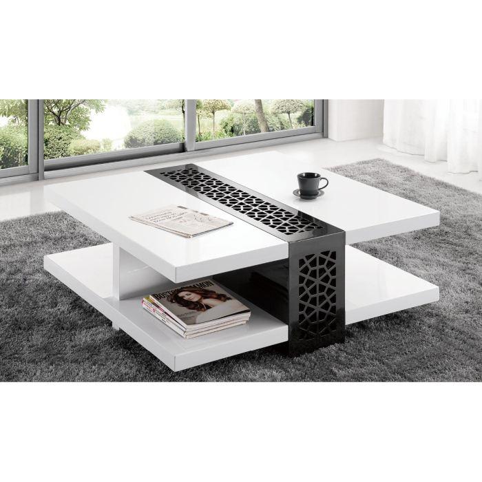 Table basse carrée bois et blanc laqué