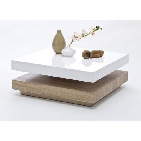 Table basse carrée bois et blanc