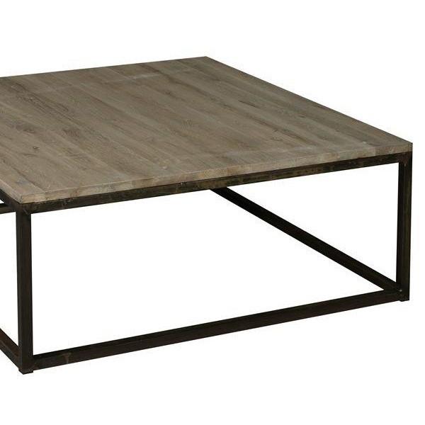 Table basse carre bois et metal