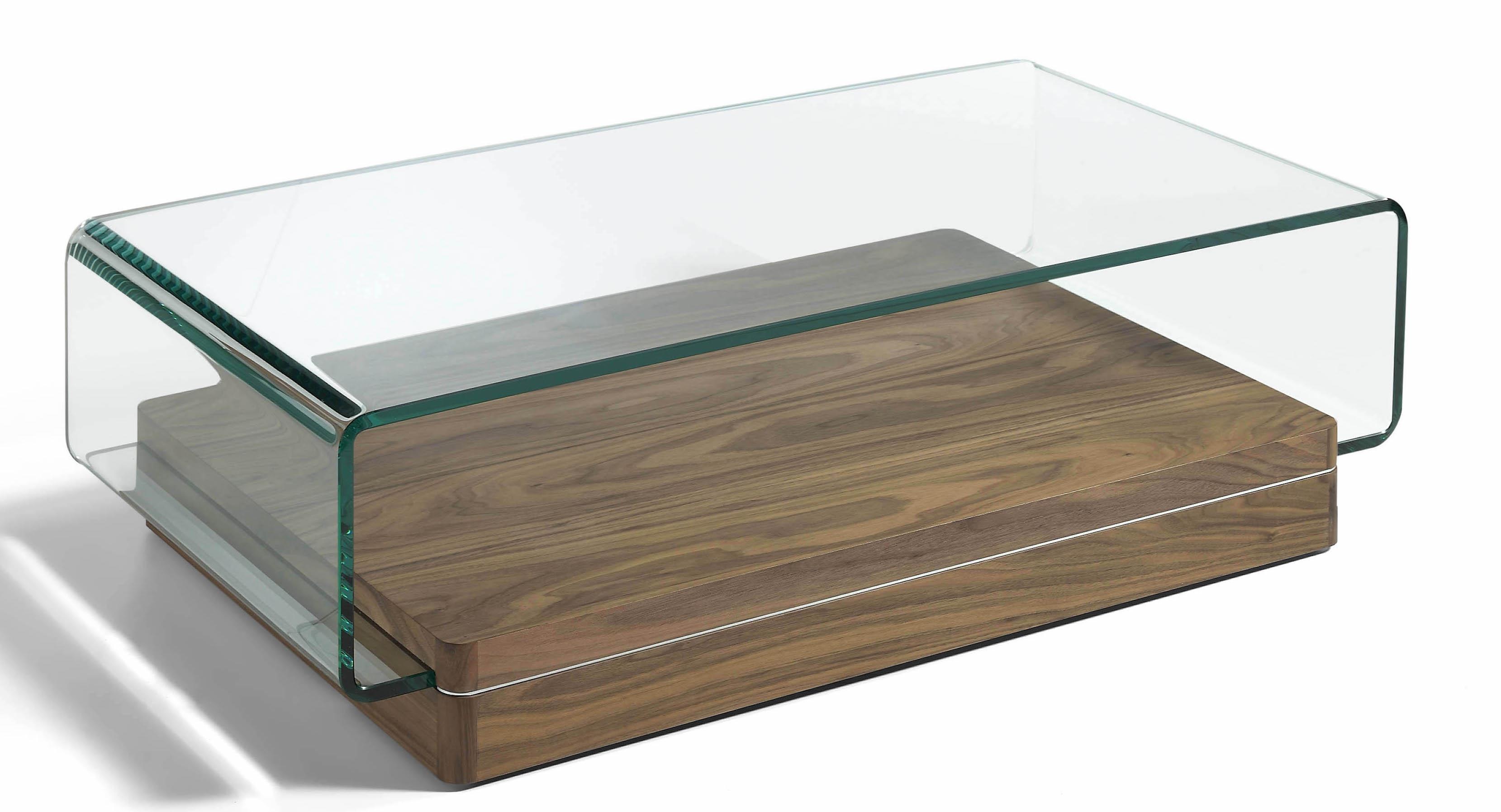 Table basse verre bois massif