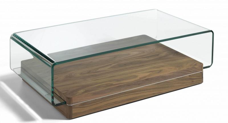 Table basse en bois et verre rectangulaire