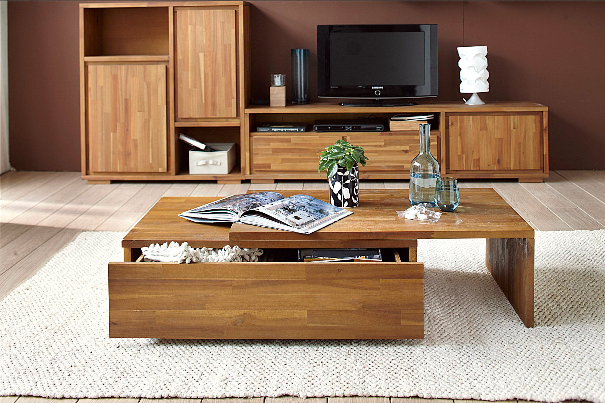 Table basse bois coulissante