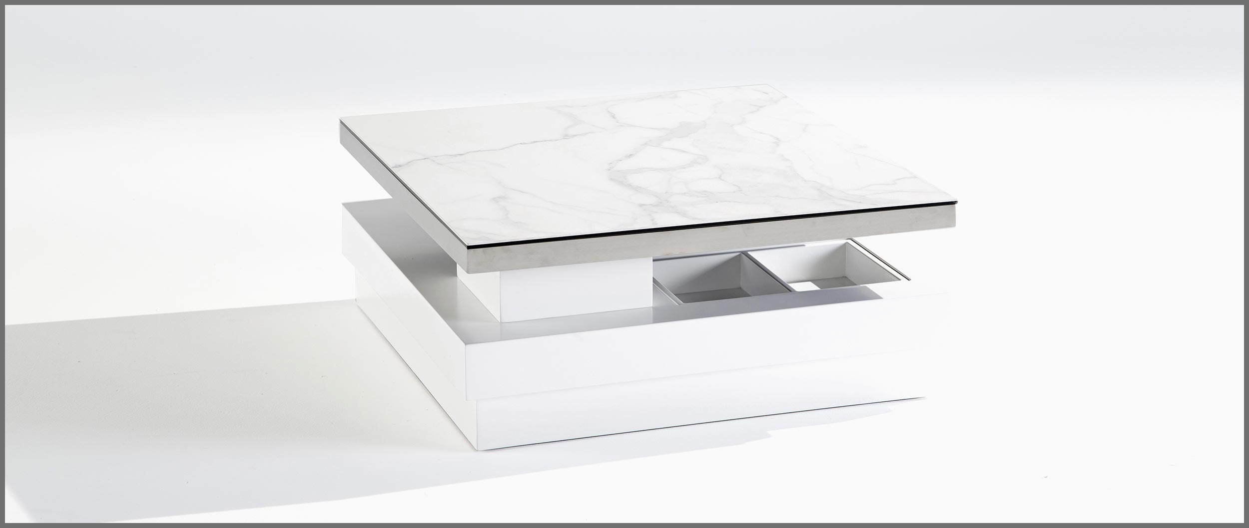 Table basse relevable cuir center