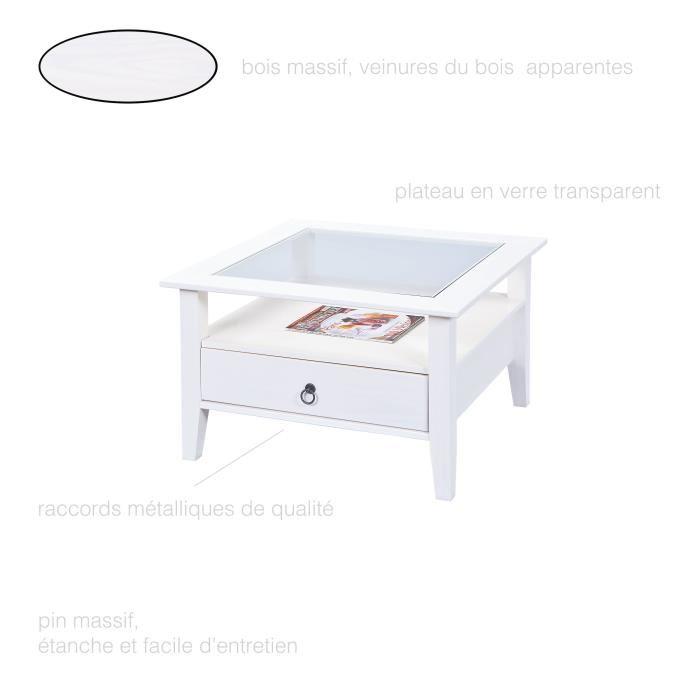 Table basse carree blanche et bois