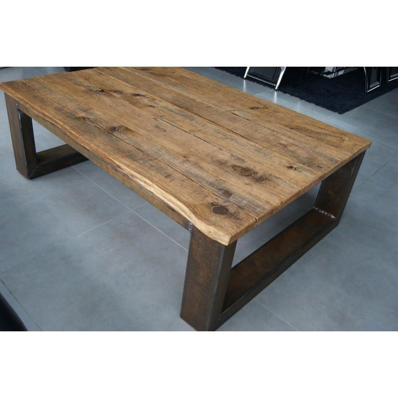 Table basse bois chene et metal