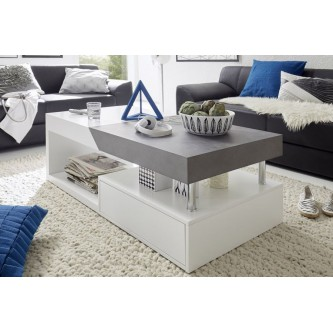 Table basse design blanche en verre maxus