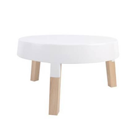 Petite table basse blanche et bois