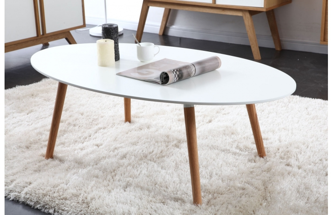 Table basse type scandinave blanche