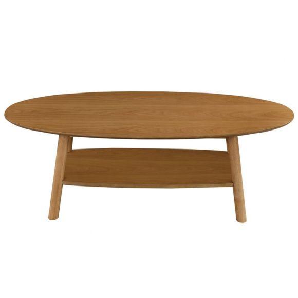 Table basse de salon en bois ovale