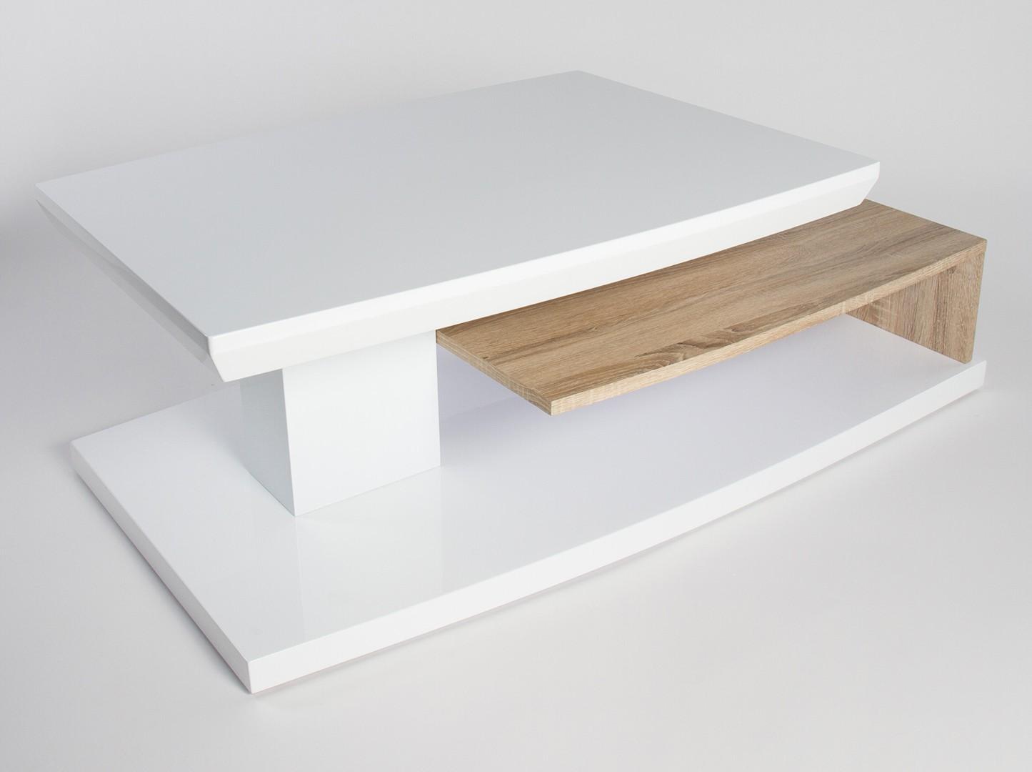 Table basse blanche et bois design