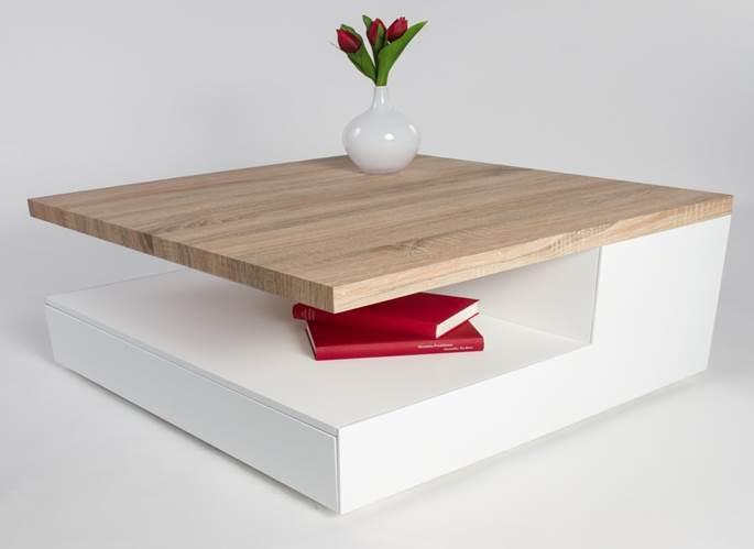Grande table basse en bois blanc