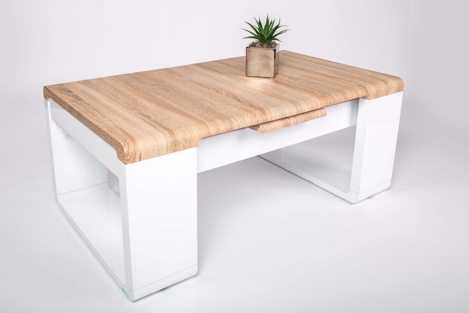 Table basse bois et laque blanc