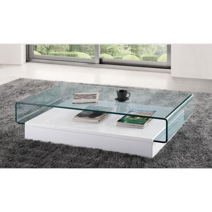Table basse design laquée haute brillance rectangulaire newark