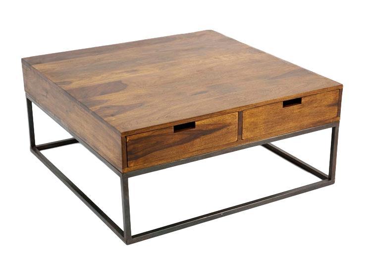 Table basse fer bois industriel