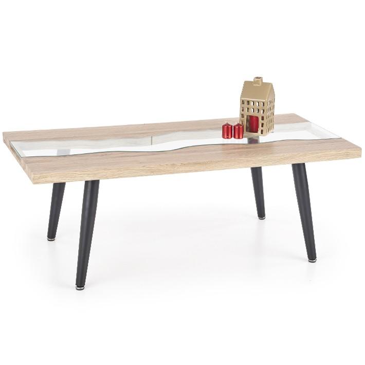 Table basse bois metal et verre