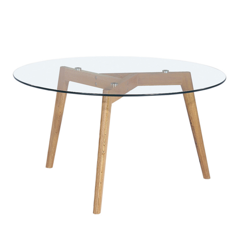 Table basse ronde scandinave verre