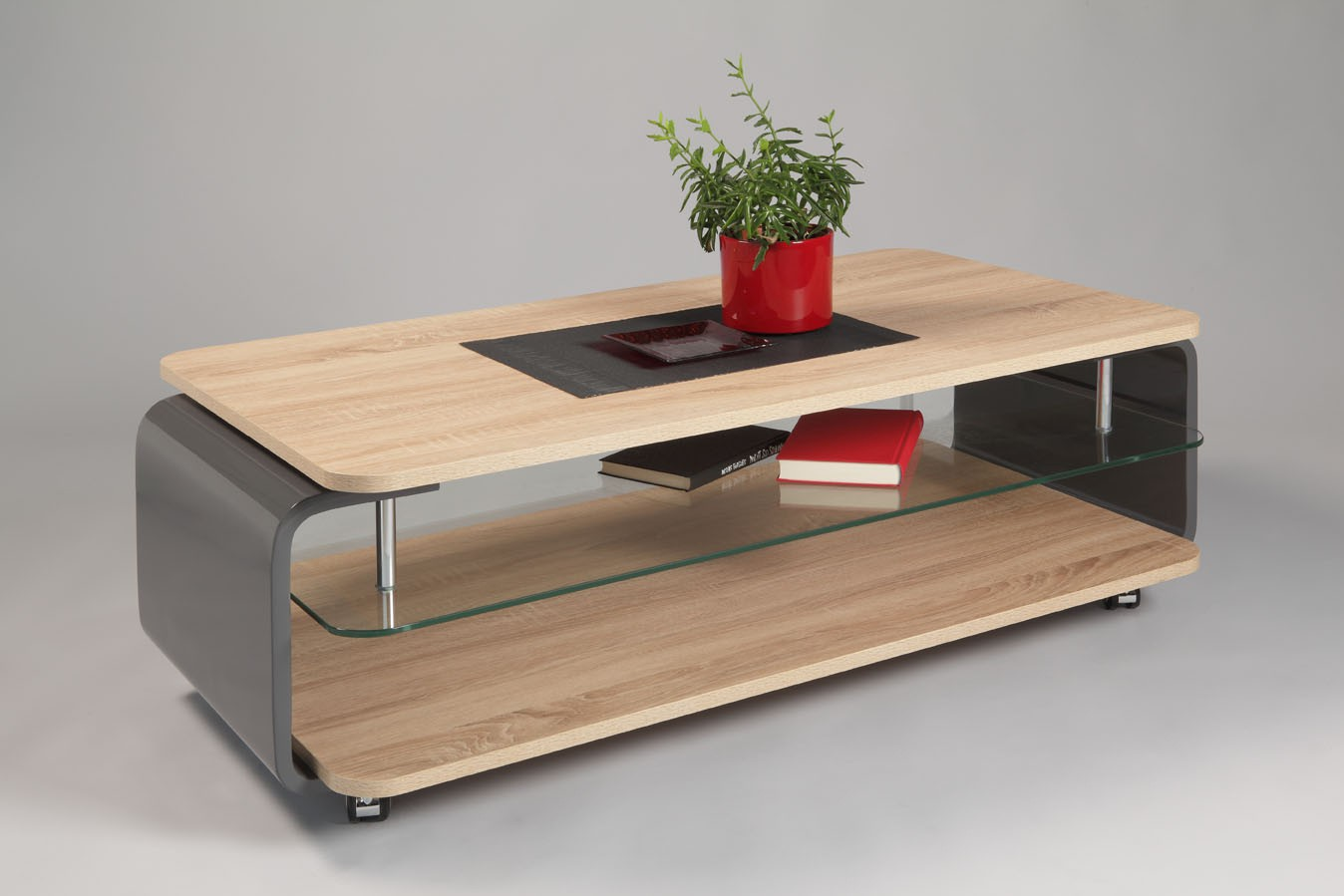 Table basse bois clair taupe