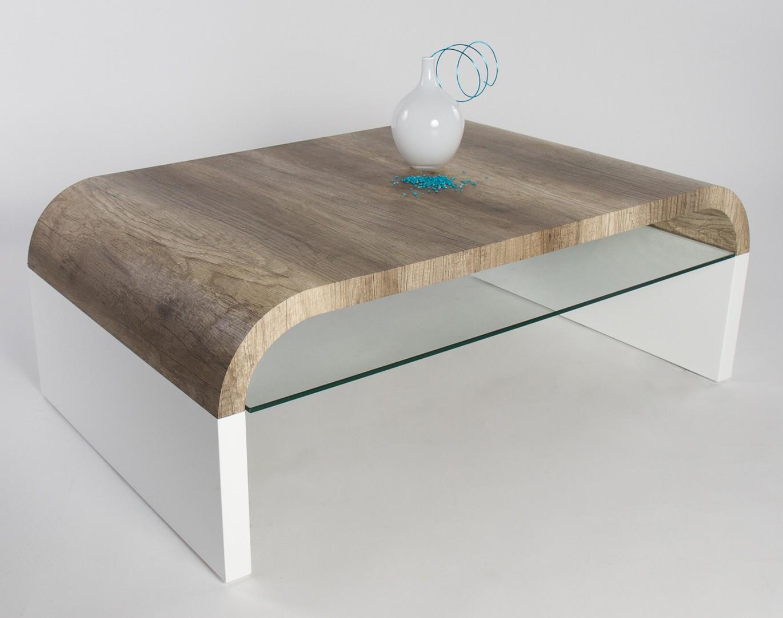 Table basse bois laqué blanche