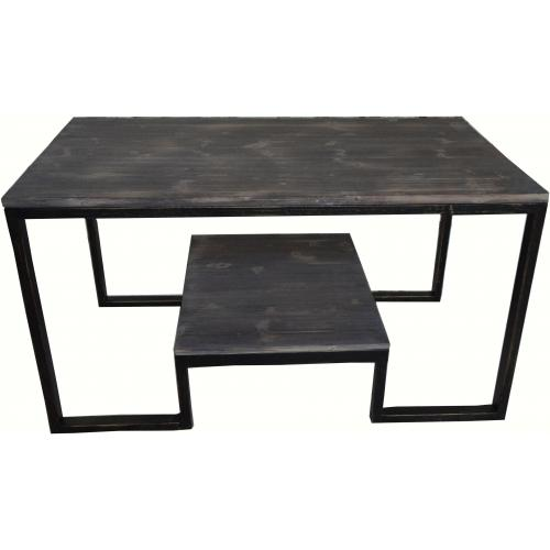 Table basse bois tresse