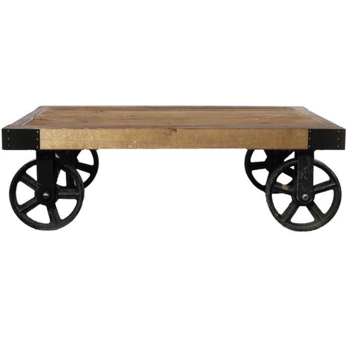 Table basse carrée en bois à roulettes