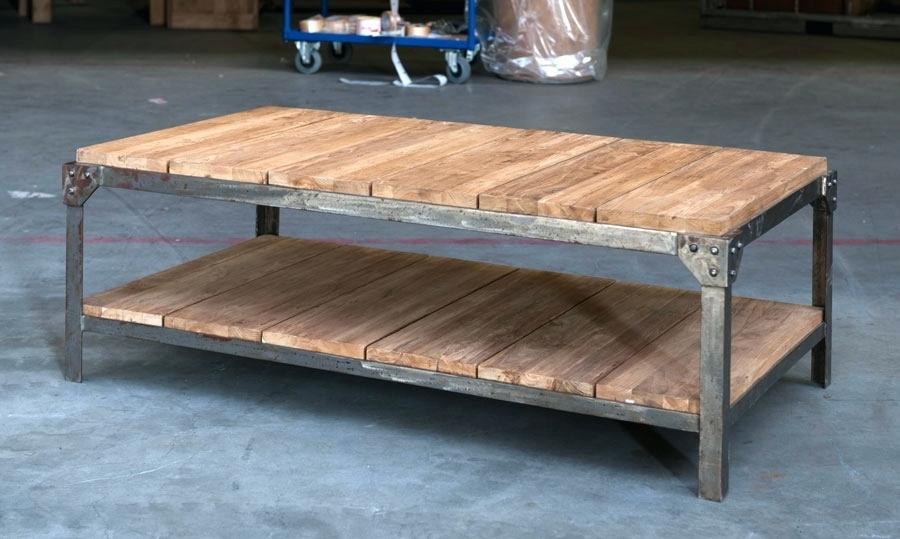 Table basse ronde bois et fer forge