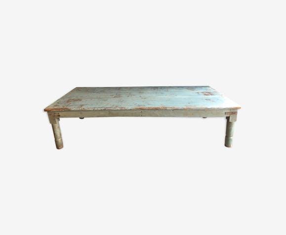 Table basse bois et bleu