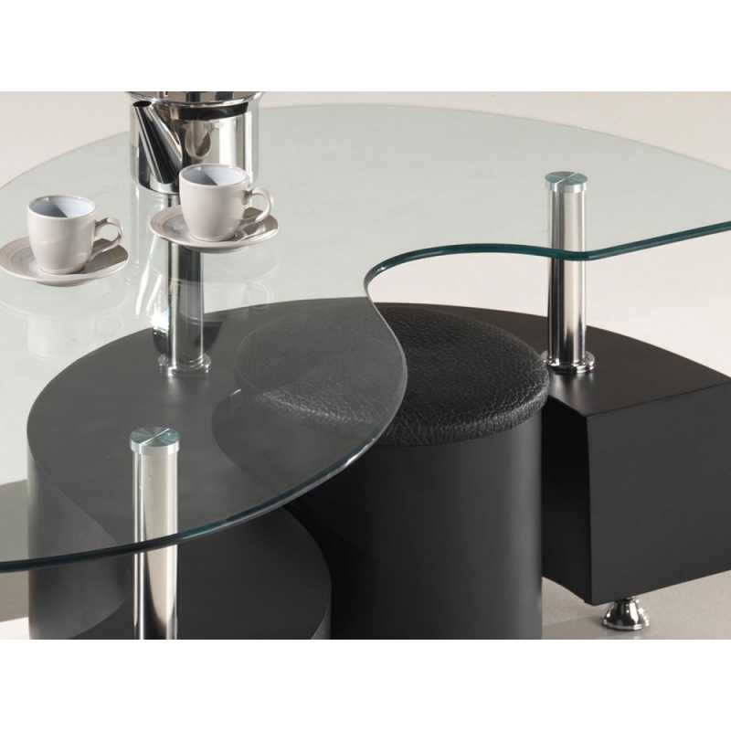 Table basse verre forme haricot