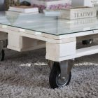Roue table basse palette
