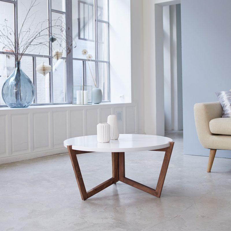 Table basse pied bois plateau blanc