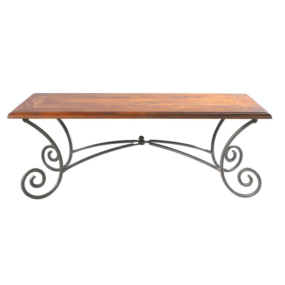 Table basse bois et fer forge
