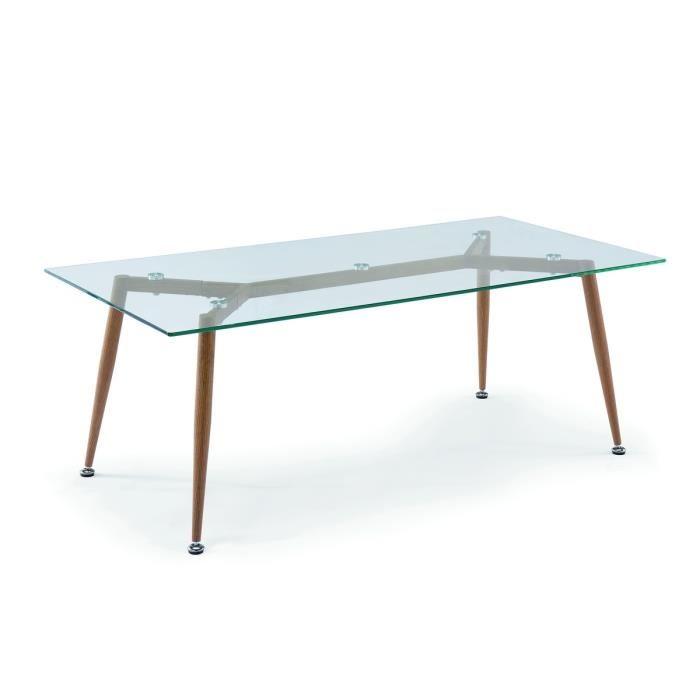 Table basse plateau verre bois