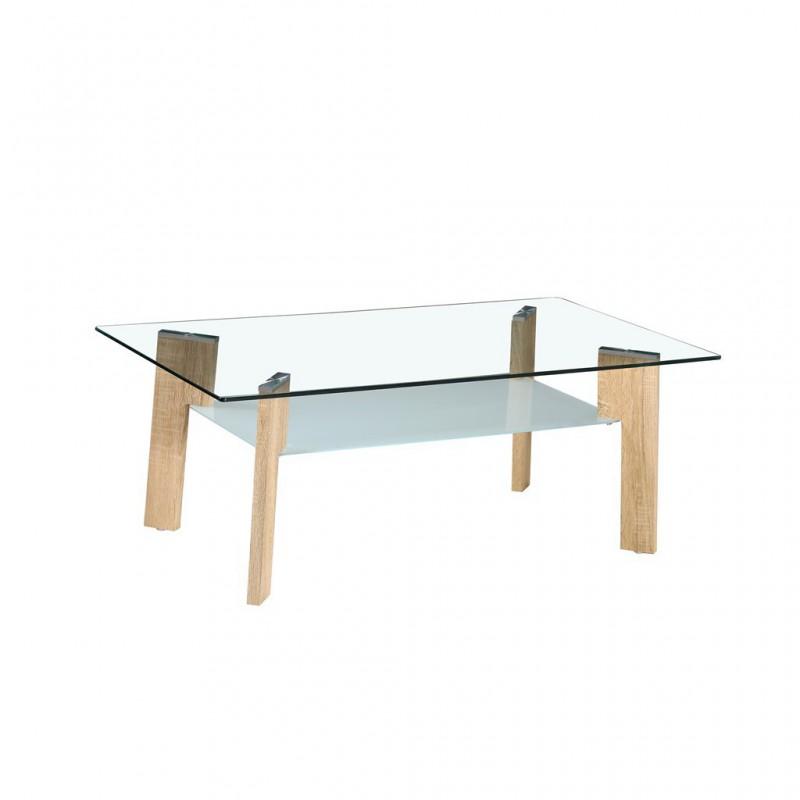 Table basse verre trempé bois