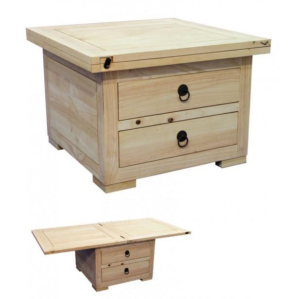 Table basse en bois extensible
