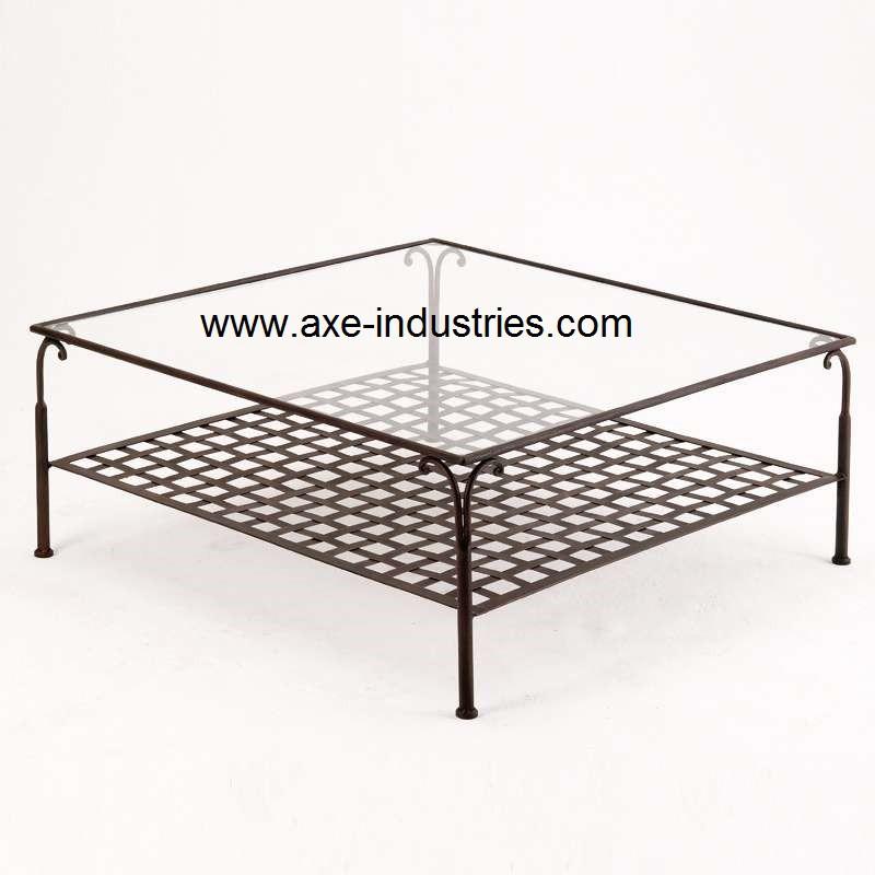 Table basse fer forgé et verre