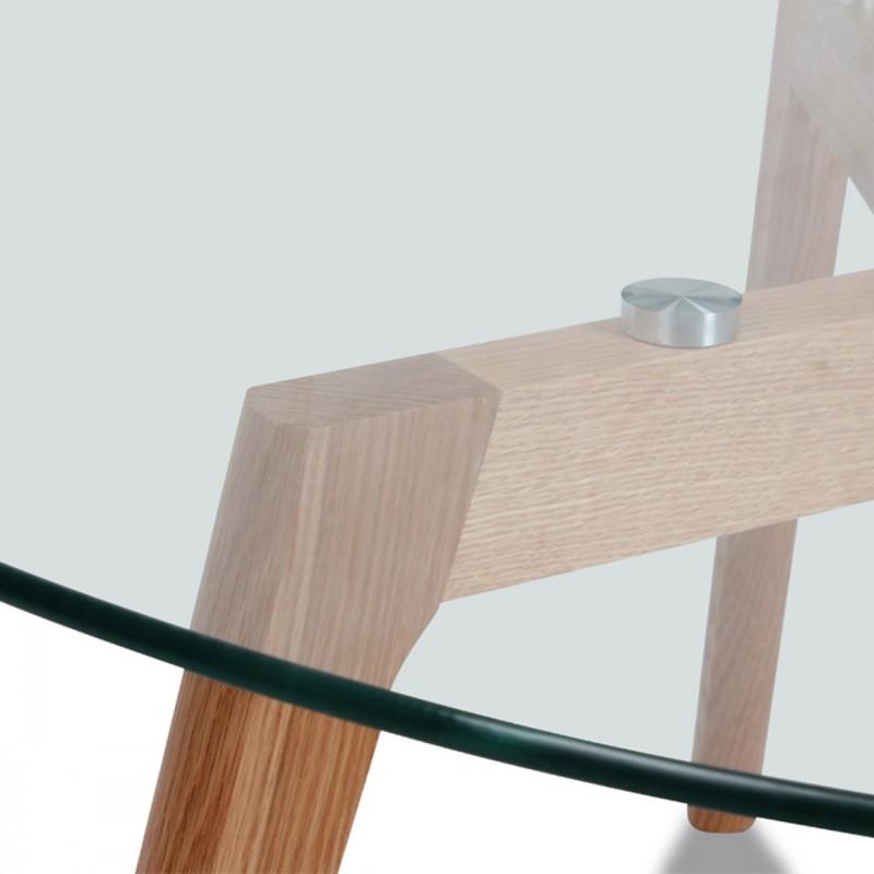 Table basse ronde verre et bois scandinave fjord