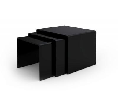 Table basse gigogne verre noir