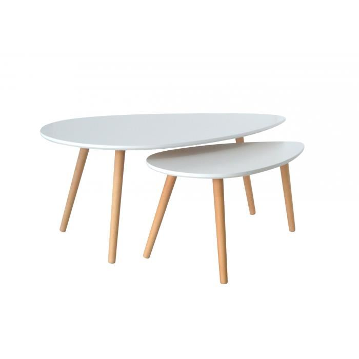 Table basse scandinave carree blanche