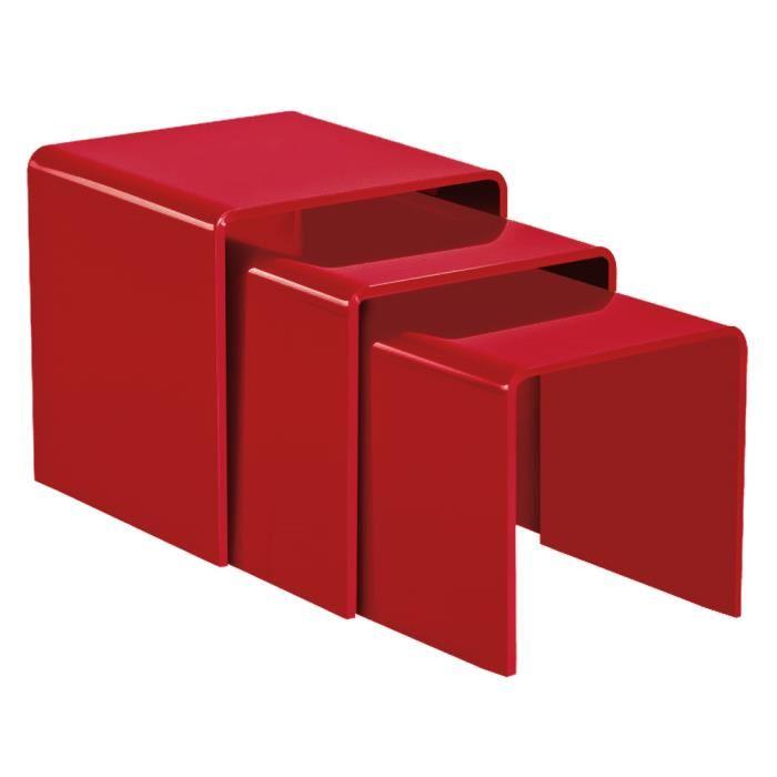 Table basse gigogne rouge