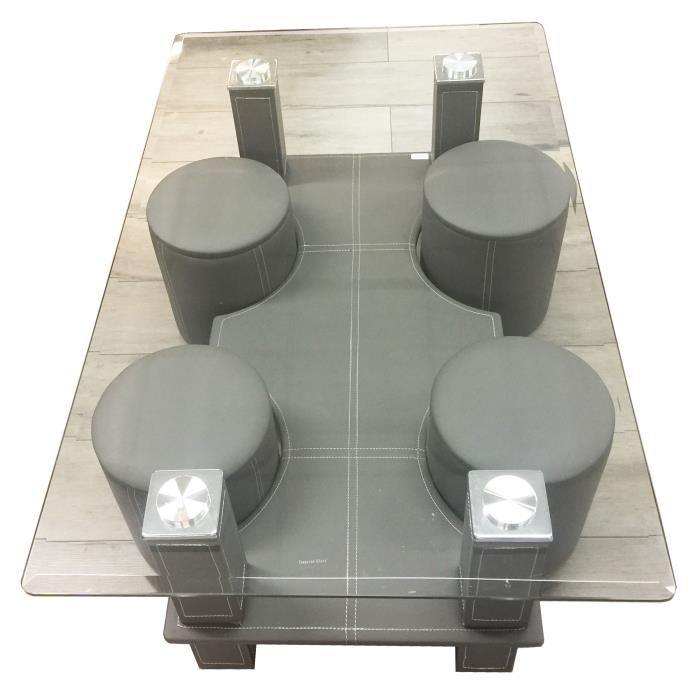 Table basse rectangulaire en verre julia avec 4 poufs