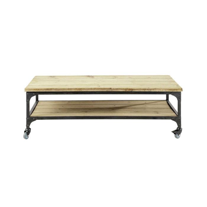 Table basse bois à roulettes