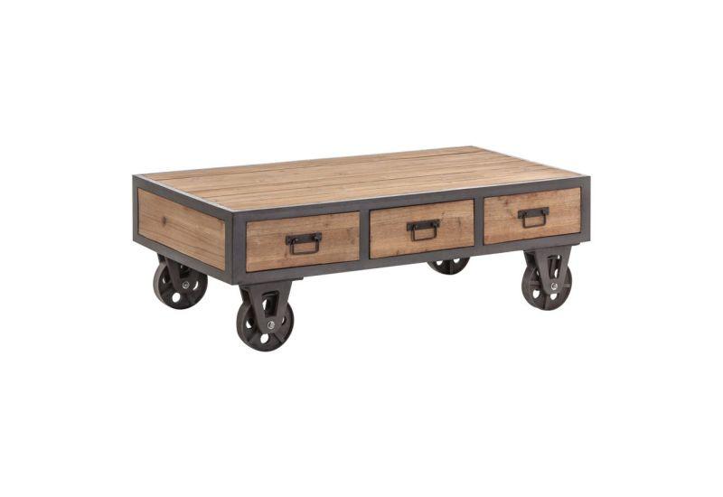 Table basse bois sur roulettes