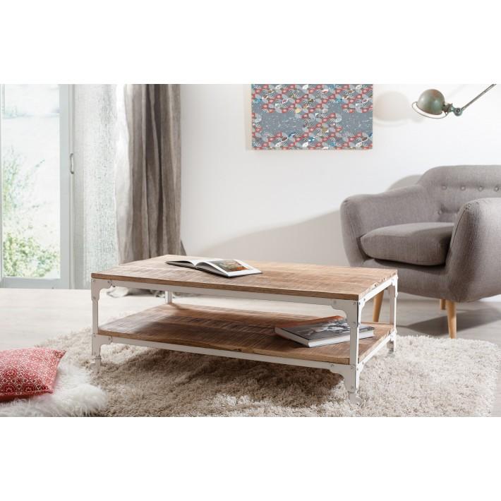 Table basse bois clair et fer