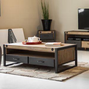 Table basse industrielle métal et bois