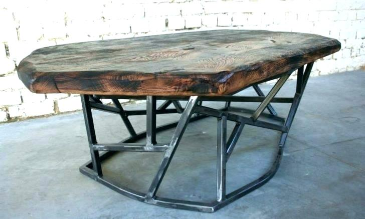Table basse bois metal vintage
