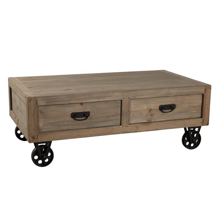 Table basse en bois avec grand tiroir