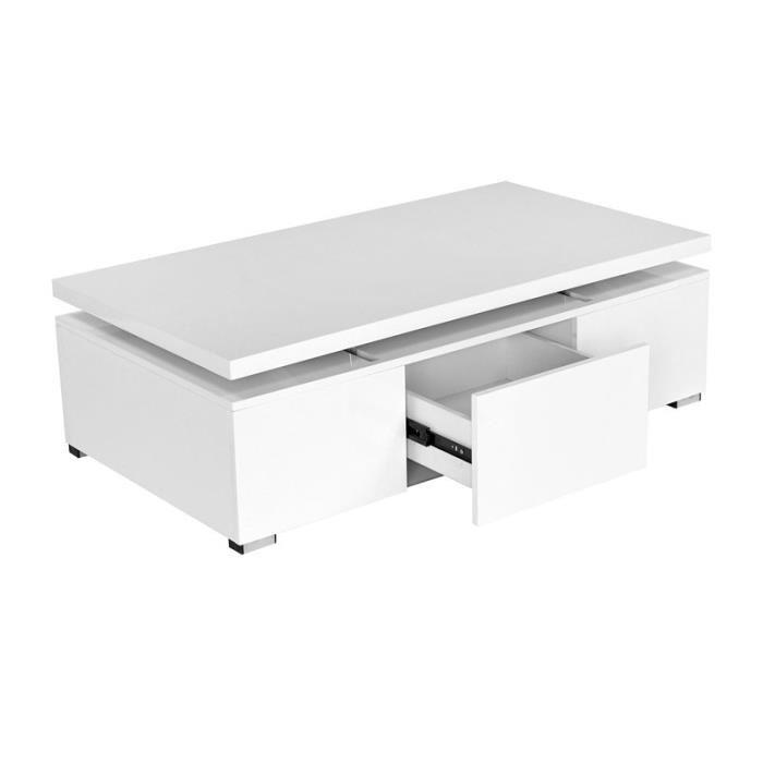 Table basse blanche laquée avec plateau relevable