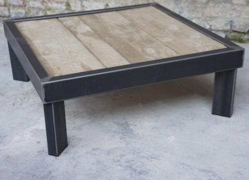 Table basse bois et metal