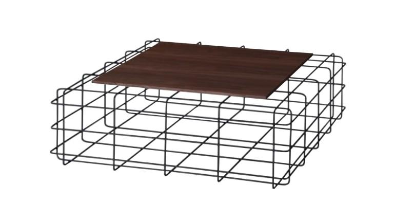 Table basse bois foncé métal