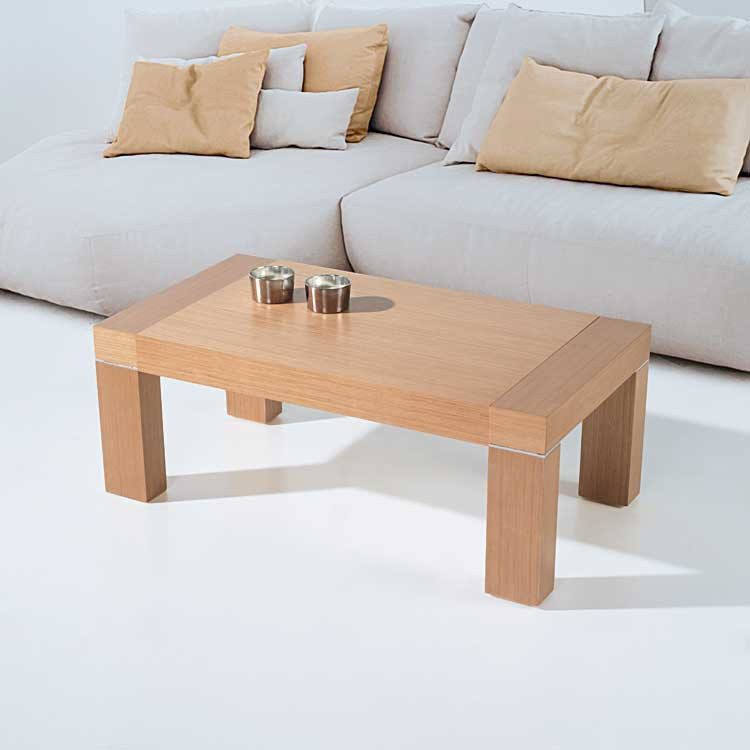 Table basse chene massif relevable